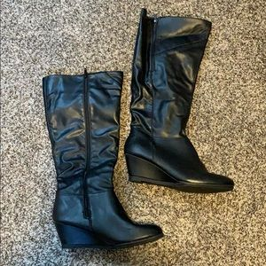faux leather wedge heeled boots